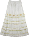 White Gold Sequin Deco Long Skirt