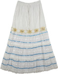 White Gold Blue Ribbon Long Skirt