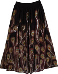 Peacock Delight Sequined Black Long Skirt