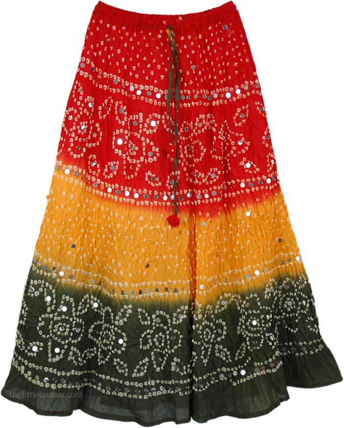 Orange Red Tie Dye Long Skirt, Mexican Glare Tie Dye Long Skirt