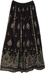 Green Pearls Black Long Skirt