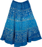 Viola Blue Tie Dye Sequin Long Skirt