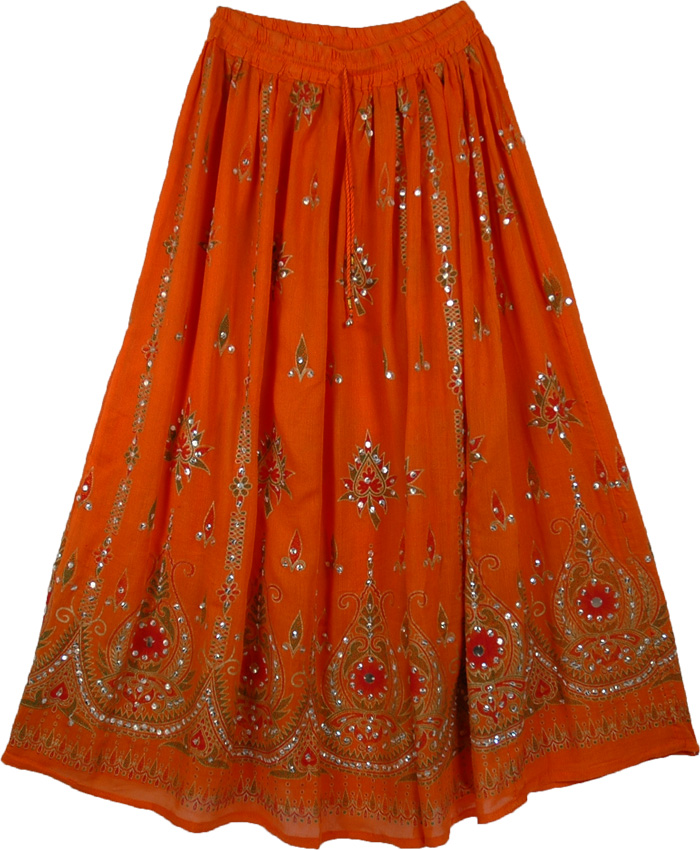 Ethnic Orange Sequined Indian Skirt - Sequin-Skirts - Sale on bags skirts jewelry at ...