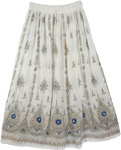 White Sequin Skirt with Navy Motifs