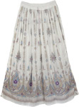 White Sequin Skirt with Purple Motifs
