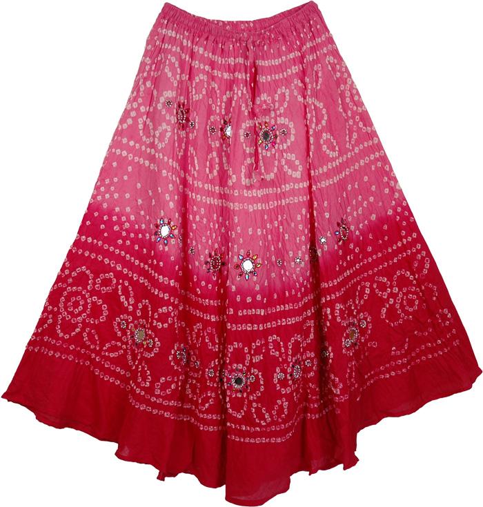 Two Shades Pink Tie Dye Skirt, Pink Aesthetics Bohemian Designer Skirt 34L