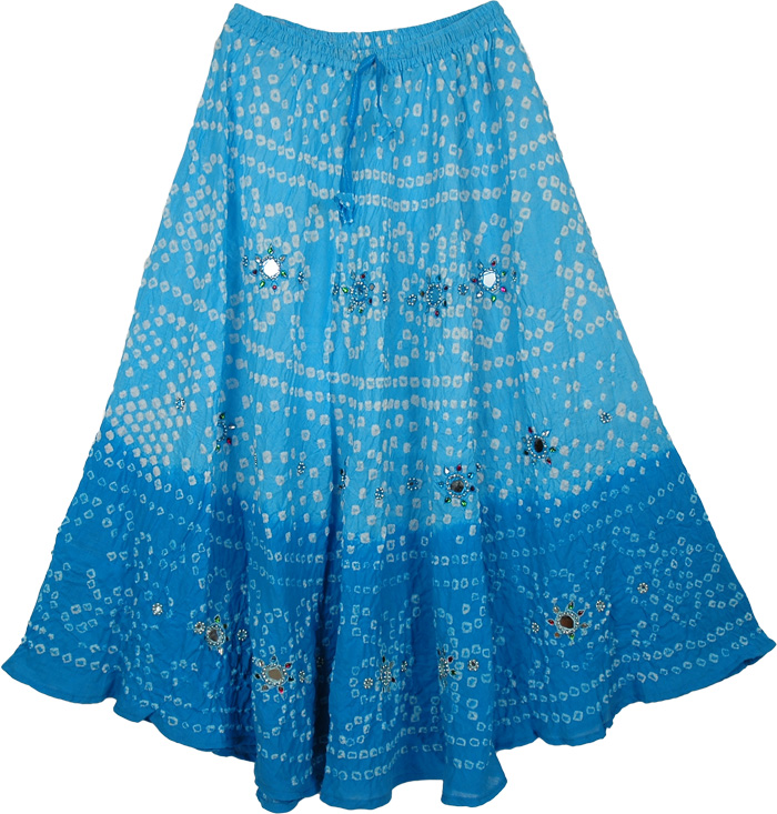 Two Shades Blue Tie Dye Skirt, Blue Belle Sparkle Blue Long Skirt 34L