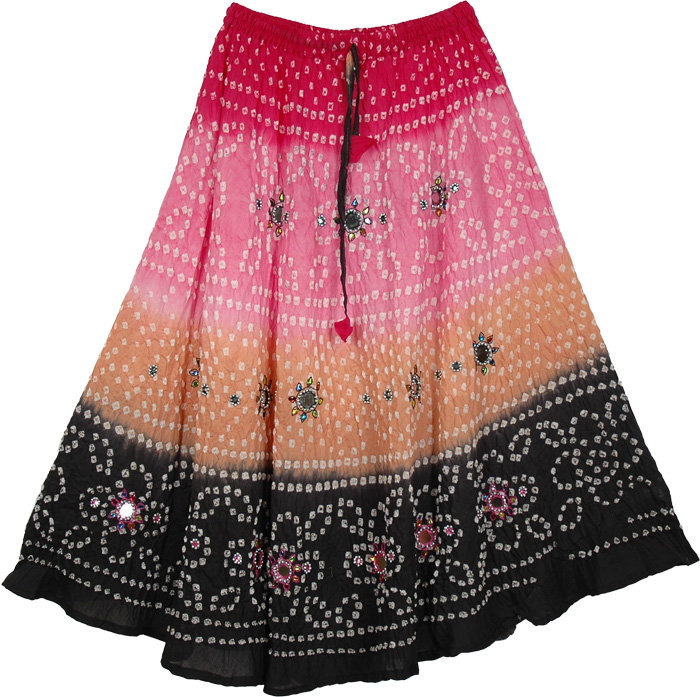 Pink and Black Mirrors Ethnic Dance Skirt, Wordsworth Tie Dye Long Skirt 33L