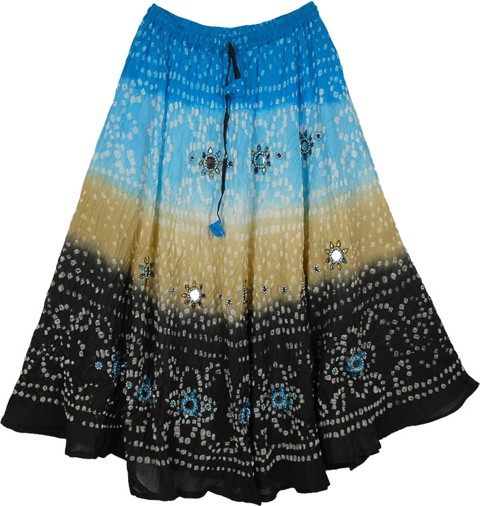 Blue to Black Ethnic Tie Dye Long Skirt, Celestial Sparkle Tie Dye Long Skirt 35L