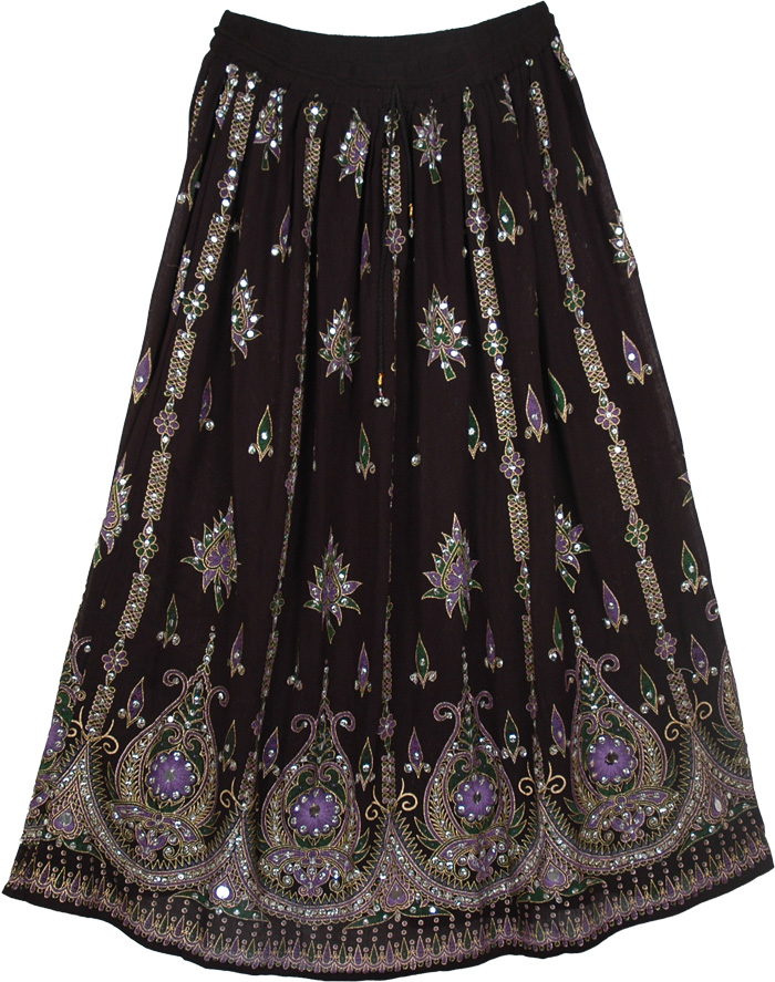 Purple Grace Black Long Skirt | Sequin-Skirts | Black-Skirts