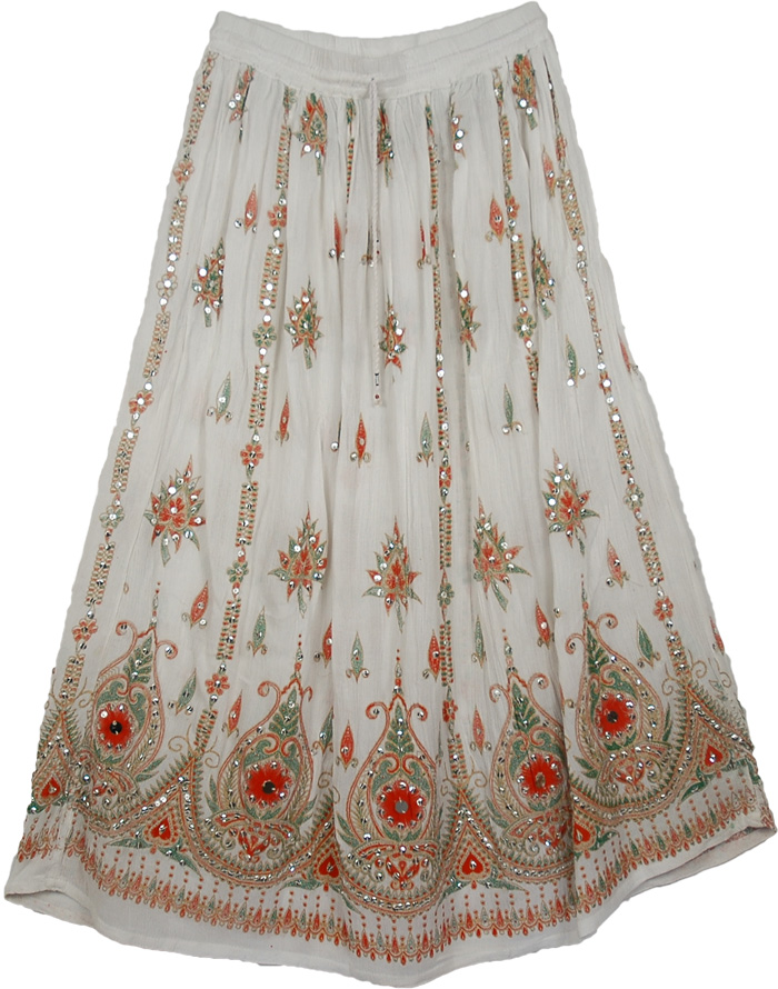 Sequined Long Womens Skirt in White from India - Sequin-Skirts ...