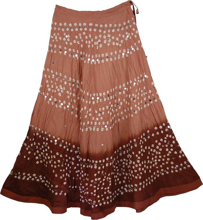 Brown Tye Die Long Skirt, Matrix Brown Tie Dye Skirt