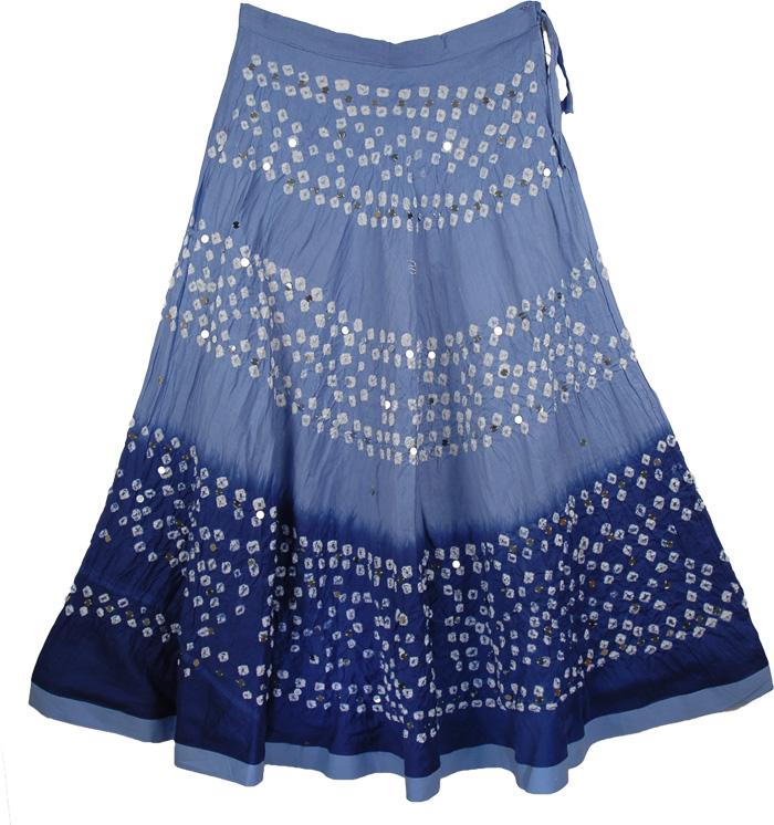 Blue Tye Die Long Skirt, Cove Blue Tie Dye Skirt