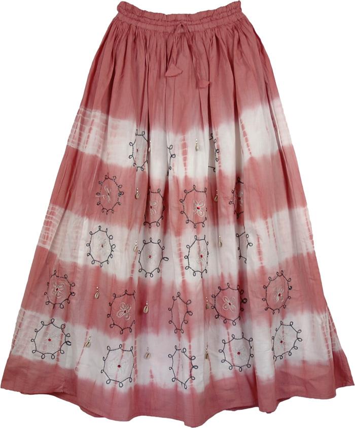 Cotton Long Indian Skirt with Circles, Decorated Rust Bohemian Long Skirt