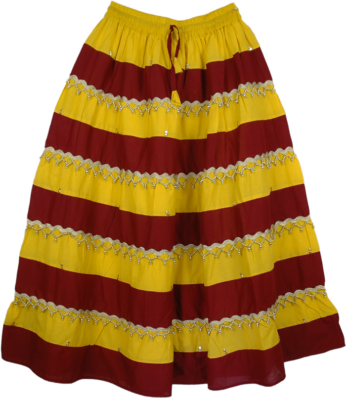 Lehnga Skirt with Beads and Sequins, Gypsy Boho Panel Festival Long Skirt