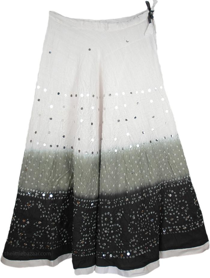 Black White Sequin Long Skirt, White Gray Black Sequin Skirt