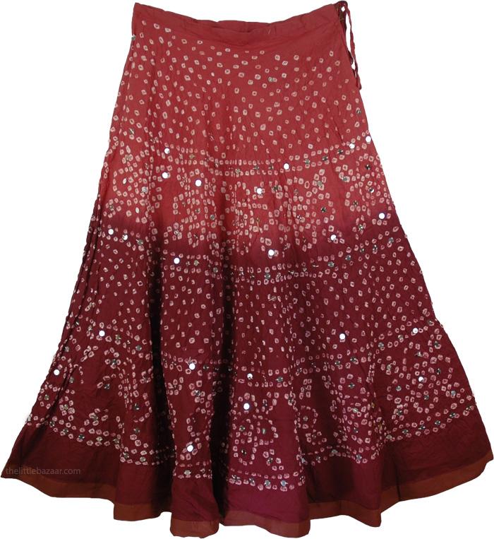 Indian Dance Tie Dye Long Skirt, Brown Hues Tie Dye Skirt