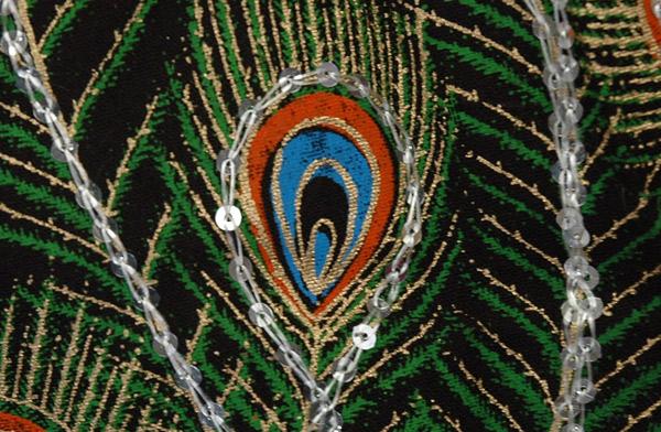 Blue Slush Peacock Sequined Black Long Skirt