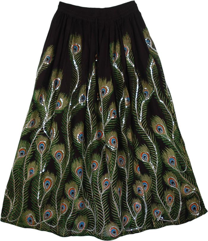 Blue Peacock Black Sequined Skirt, Blue Slush Peacock Sequined Black Long Skirt