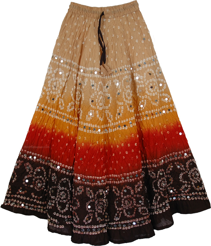 Cream to Brown Red Long Skirt, Spicy Hot Tie Dye Skirt