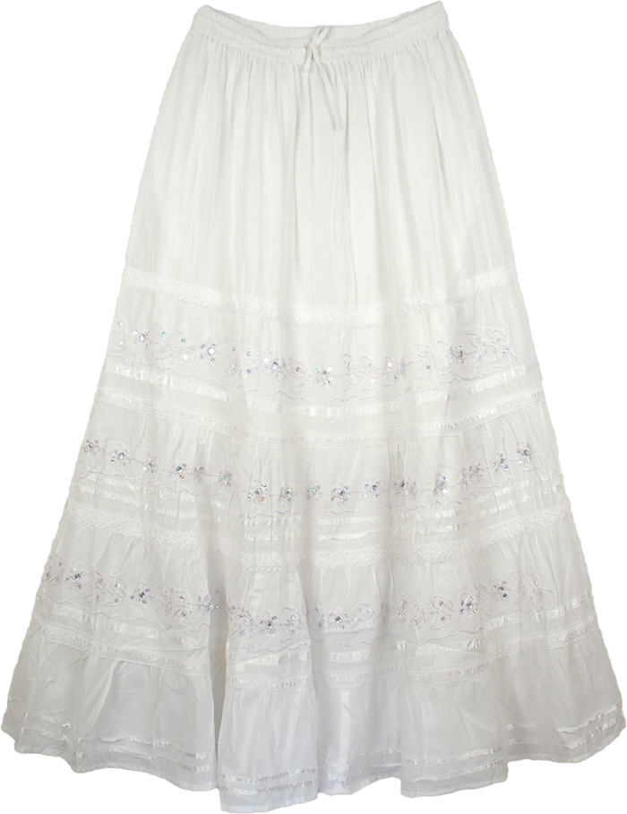 White Skirt with Embroidery And Ribbons, Royal White Embellished Cotton Skirt