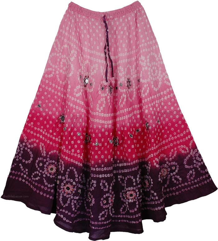 Pink Purple Tie Dye Mirrors Skirt, Bell Princess Mirrors Long Skirt 36L