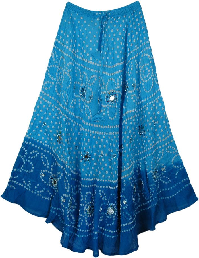 Two Shades Blue Tie Dye Skirt, Blue Belle Mirror Blue Long Skirt 37L