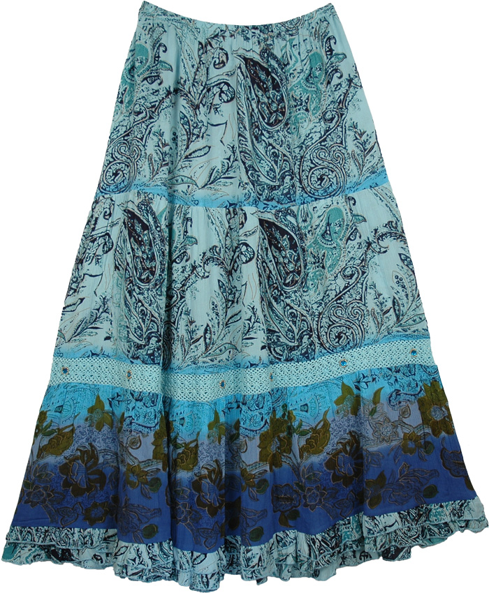 Georgette Mirage Long Skirt with Crochet, Mirage Womens Long Skirt