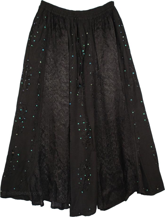 Black Skirt with Sequins Embroidery, Black Embellished Fashion Skirt
