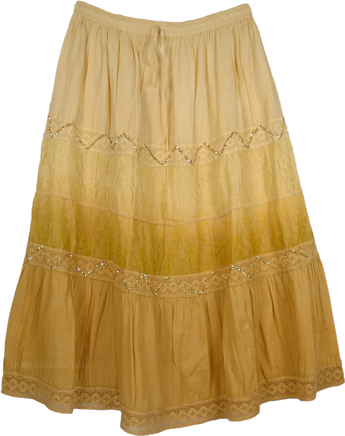Brown Decorated Extra Large Skirt, Gold Cape Ombre Long Plus Size Skirt