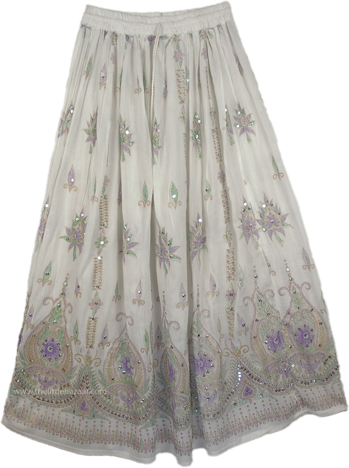 Sequined Long Lady Skirt in White from India, White Sequin Skirt with Purple Motifs