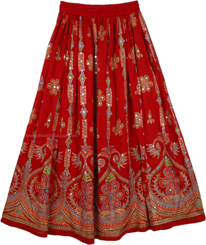 Sequined long lady skirt in red, Tamarillo Sequin Dance Skirt