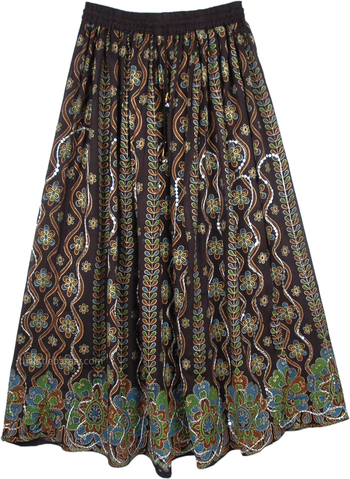 Sequined Cotton Long Lady Skirt In Black, Midnight Black Sequin Party Skirt