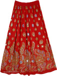 Blush Red Indian Gypsy Sequin Skirt with Florals