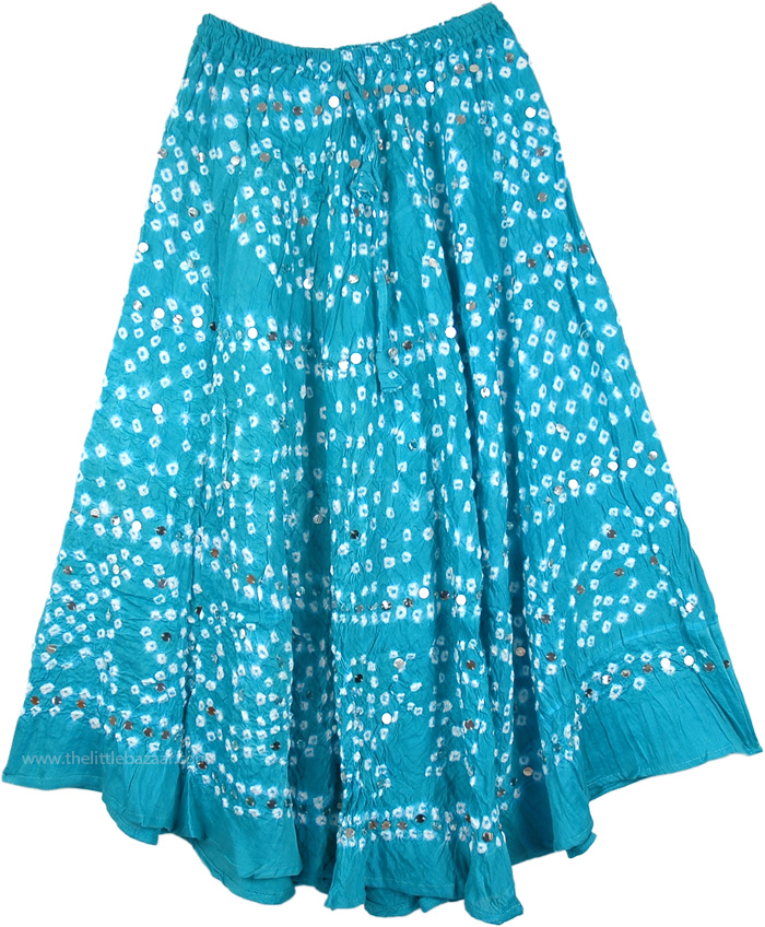 Dazzling Flowers Skirt in Sky Blue, Bohemian Sparkle Blossom Sequin Skirt