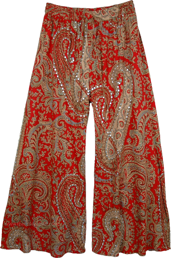 Tamarillo Ethnic Party Pants, Sequin Paisley Print Cotton Palazzo Pants