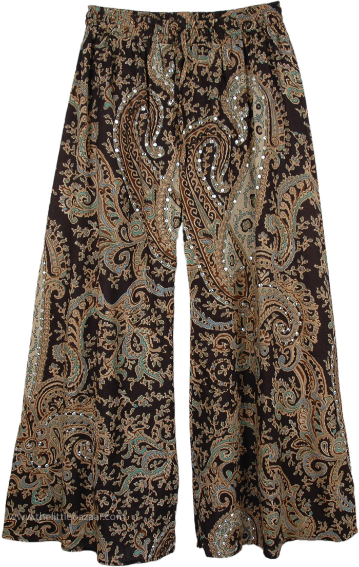 Rich Black Ethnic Party Pants, Party Palazzo Pants Paisley Print Cotton