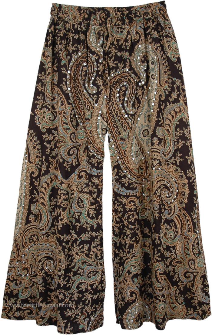 Rich Black Ethnic Party Pants, Party Palazzo Pants Paisley Print Cotton