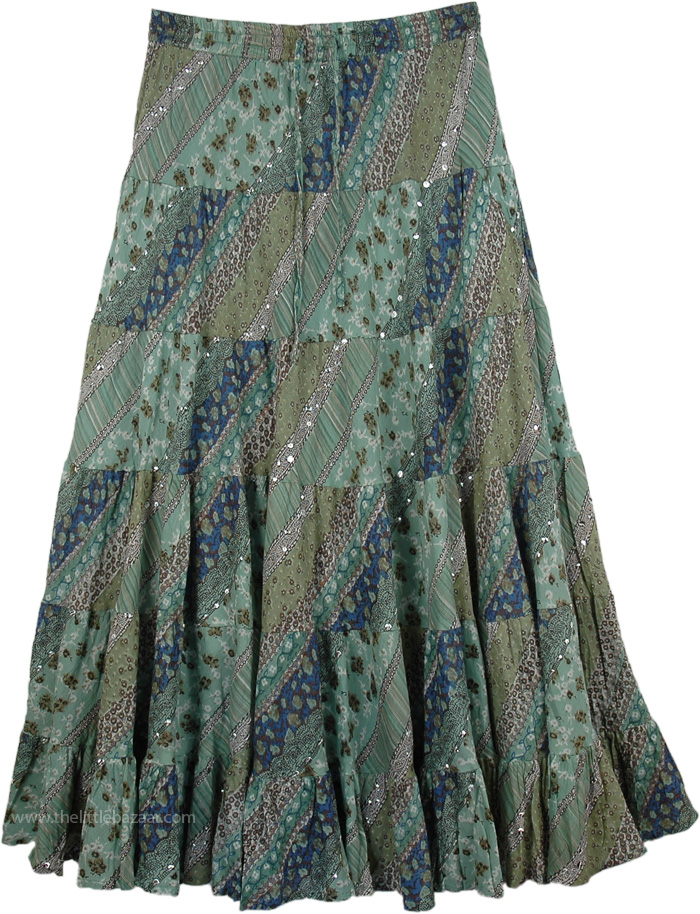 Green Swingy Long Skirt, Viridian Green Swamp Skirt