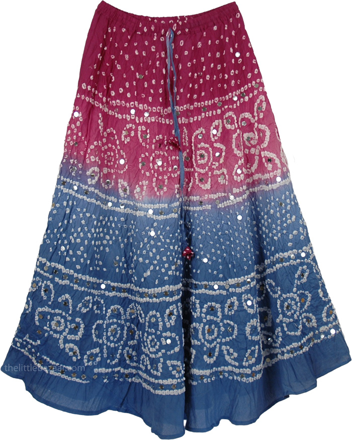 Beautiful indian long skirt flowy summer long skirt dazzled by hundreds of round silver sequins, Boho Tie Dye Sequin Long Skirt
