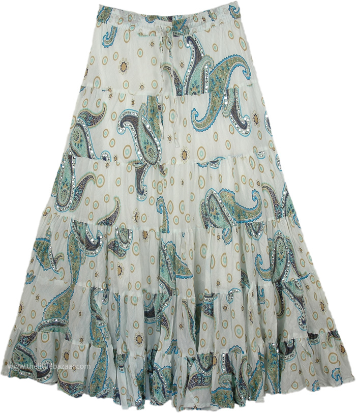 Snow White Swingy Long Skirt, White Paisley Sequined Swamp Skirt