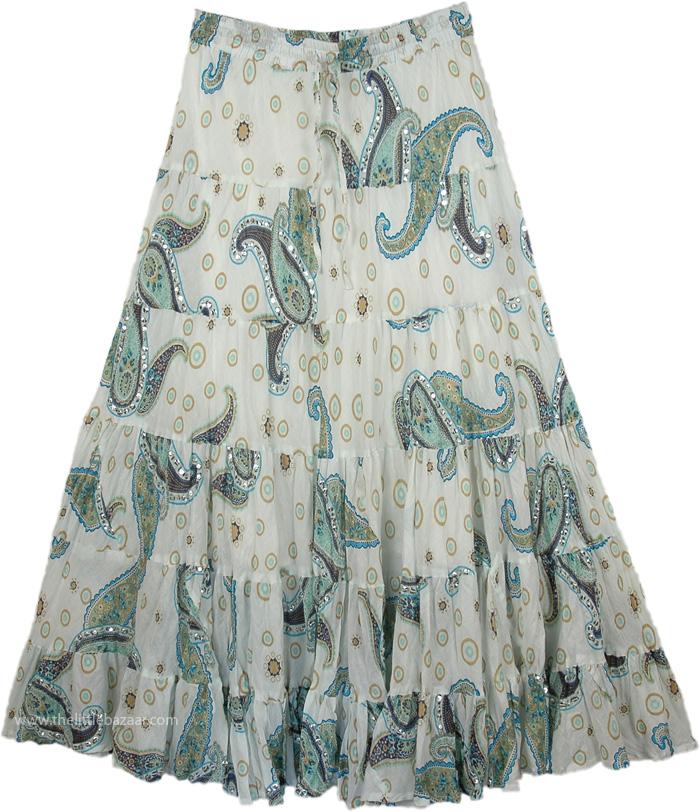 Snow White Swingy Long Skirt, White Paisley Sequined Swamp Skirt