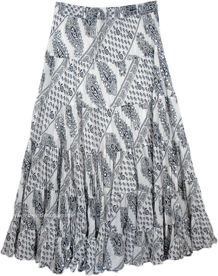 The Sunset Skirt with Silver Sequins, Seychelles Black White Printed Sequin Skirt