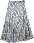 Seychelles Black White Printed Sequin Skirt