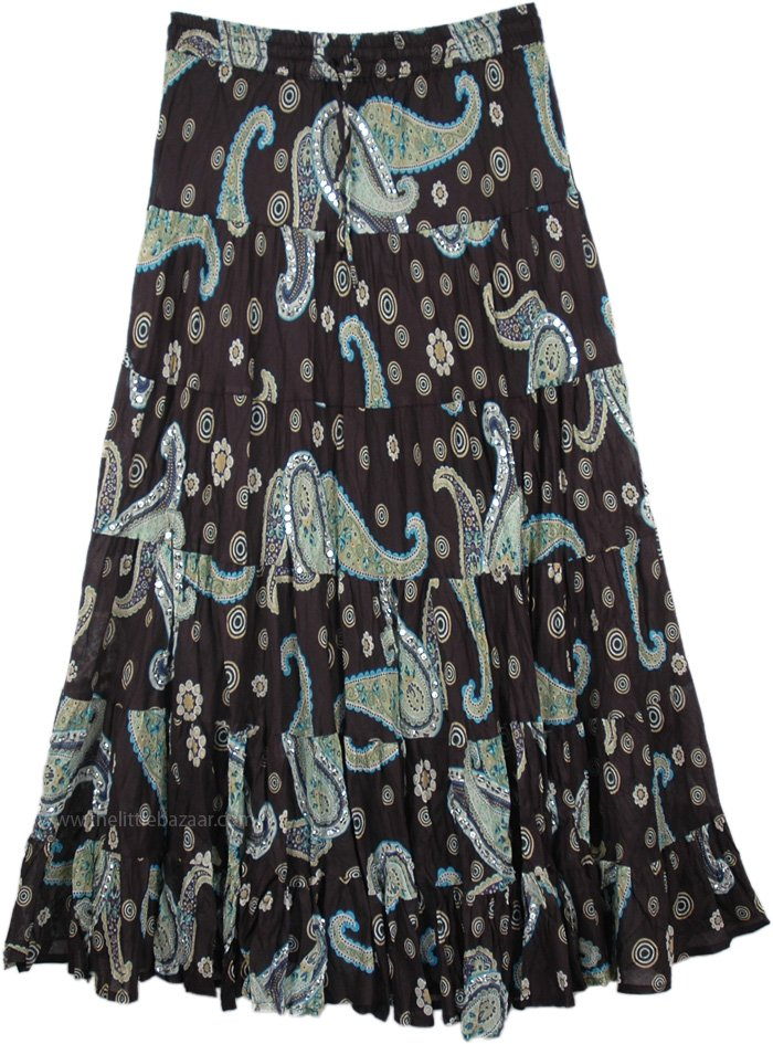 16d1d1a585 Indian Cotton Skirt for Summer in Heavenly Night Sky Accents, Sundance  Magic Paisley Sequin Cotton