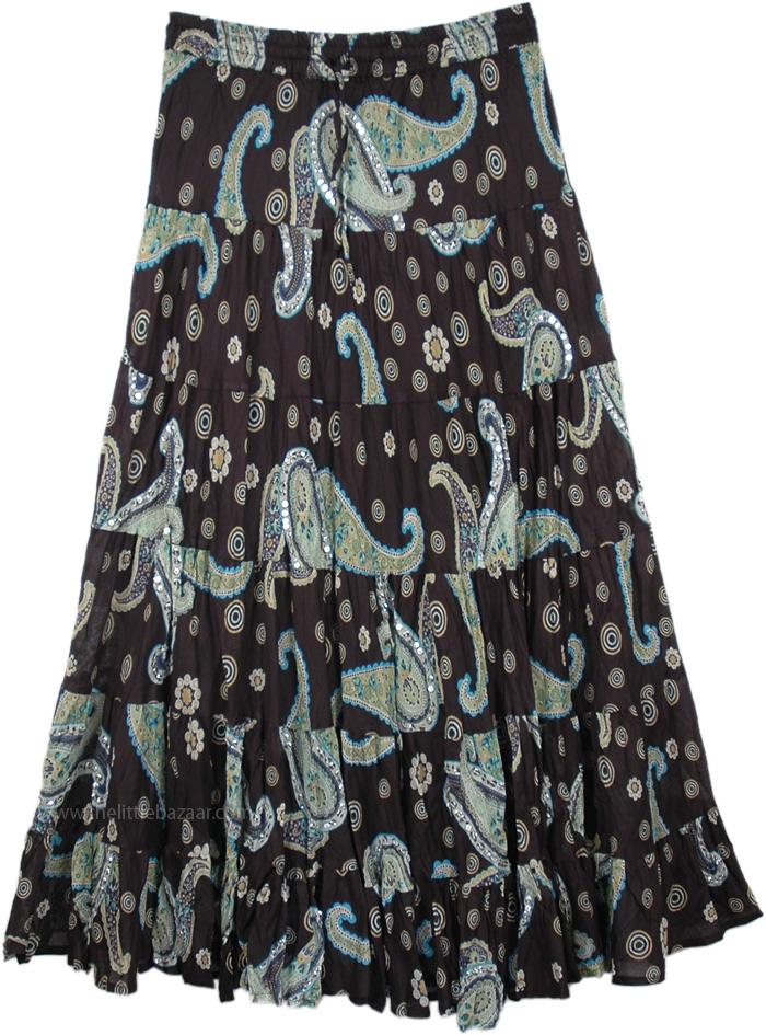 Heavenly Night Sky Long Skirt in Black, Sundance Magic Ethnic Sequin Cotton Skirt
