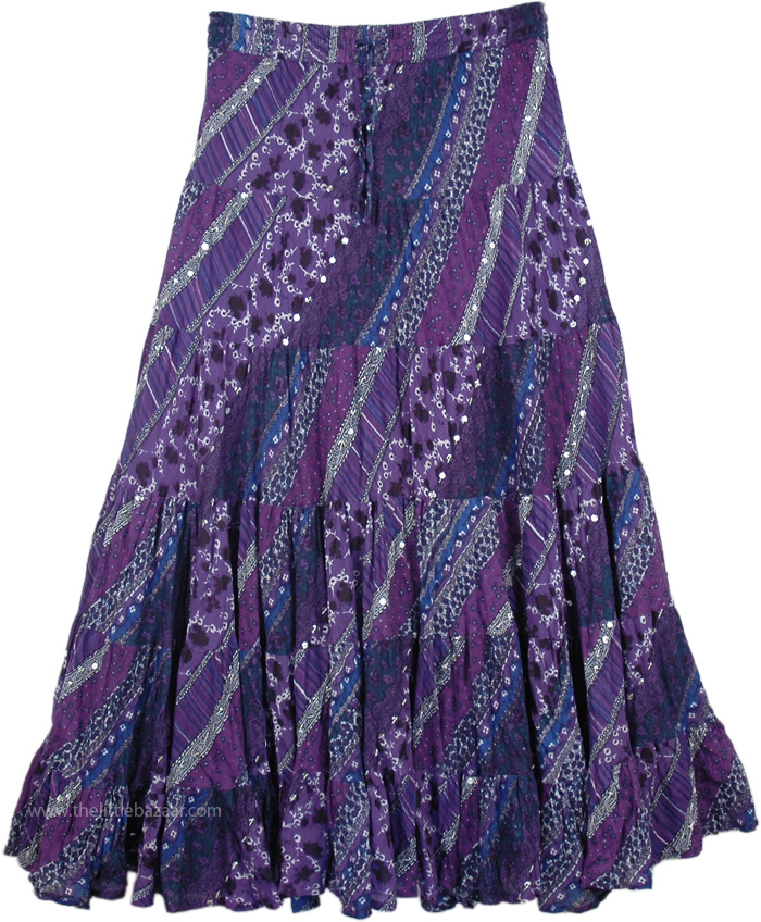 Deep Purple Swingy Long Skirt, Honey Flower Deep Purple Sequin Skirt
