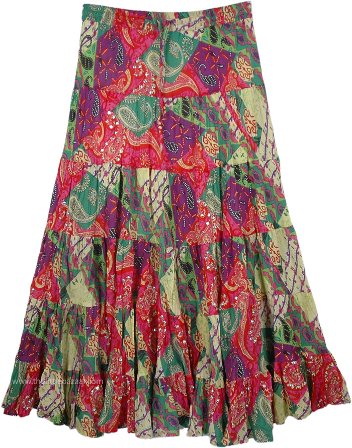 Fancy Colorful Swingy Long Skirt, Colorful Skirt with Paisley Print and Sequins