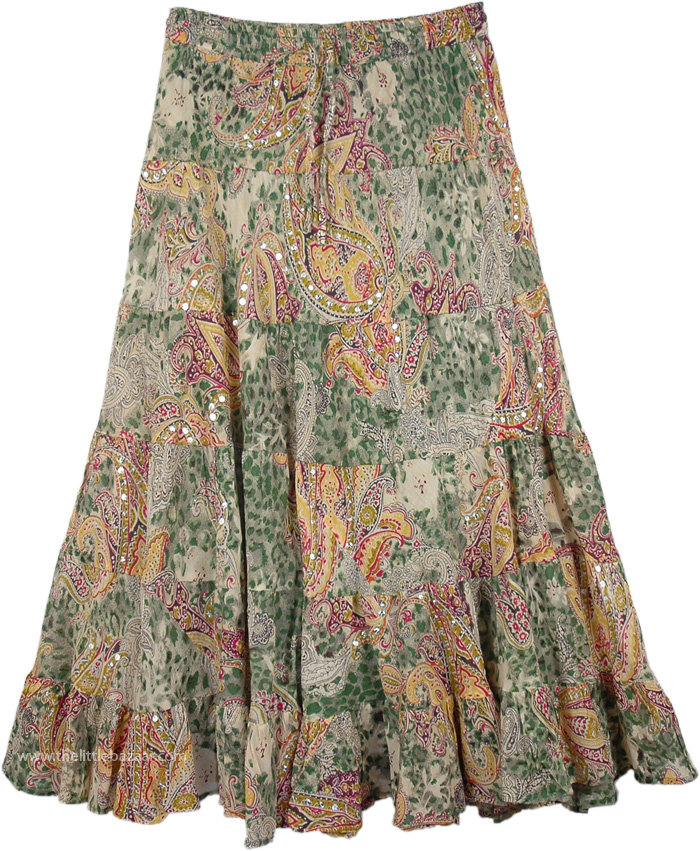 Soft Summer Cotton Paisley Printed Skirt, Summer Sequin Skirt in Paisley Print
