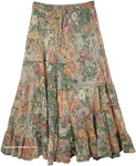 Summer Sequin Skirt in Paisley Print